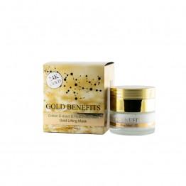 Masca cu Efect de Lifting cu Aur 24K, cu extract din Bumbac si Acid Hialuronic, pentru toate tipurile de ten, Gold Benefits, 50ml