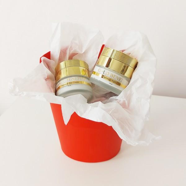 Set cadou- Gold Benefits - Crema de Noapte Hidratanta cu Aur 24K + Crema Delicata pentru Ochi cu Aur 24K