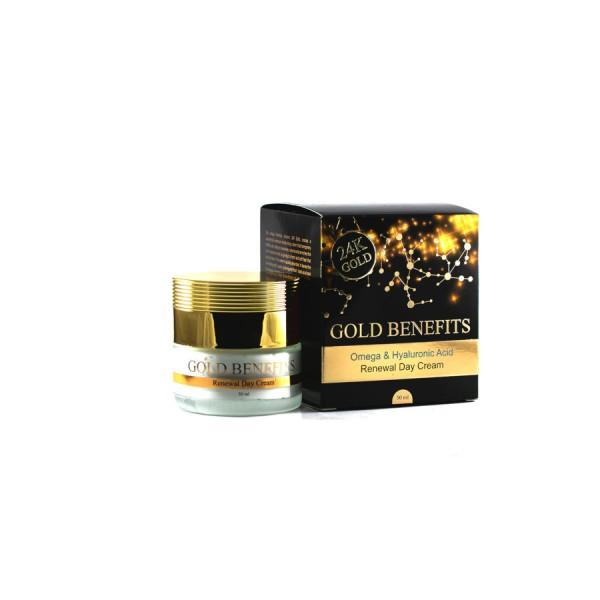 Crema de Zi cu Aur 24K, cu Omega 3, 6, 9 si Acid Hialuronic pentru toate tipurile de ten, Gold Benefits, 50ml