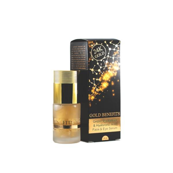 Ser pentru Fata si Ochi cu Aur 24K, cu extract din Ceai Verde si Acid Hialuronic, pentru toate tipurile de ten, Gold Benefits, 30ml