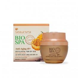 Anti Aging +45 Active Day Cream SPF-15 Imbogatita cu Ulei de Dovleac, penru ten uscat si foarte uscat, BIO SPA, 50ml